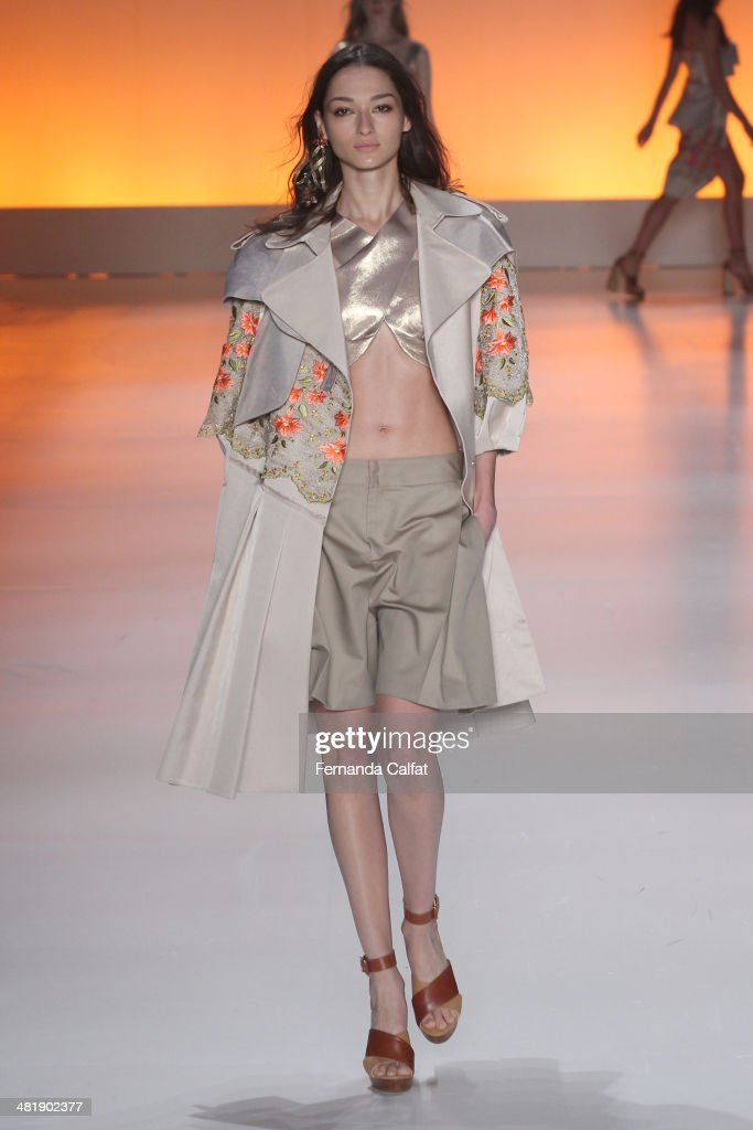Bruna Tenorio walks the runway at Triton show during Sao Paulo Fashion Week Summer 2014/2015 at Parque Candido Portinari on April 1, 2014 in Sao Paulo, Brazil.