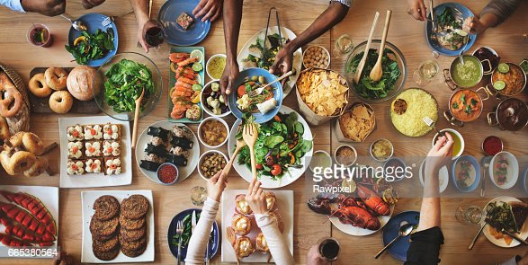 Brunch Choice Crowd Dining Food Options Eating Concept : Stock Photo