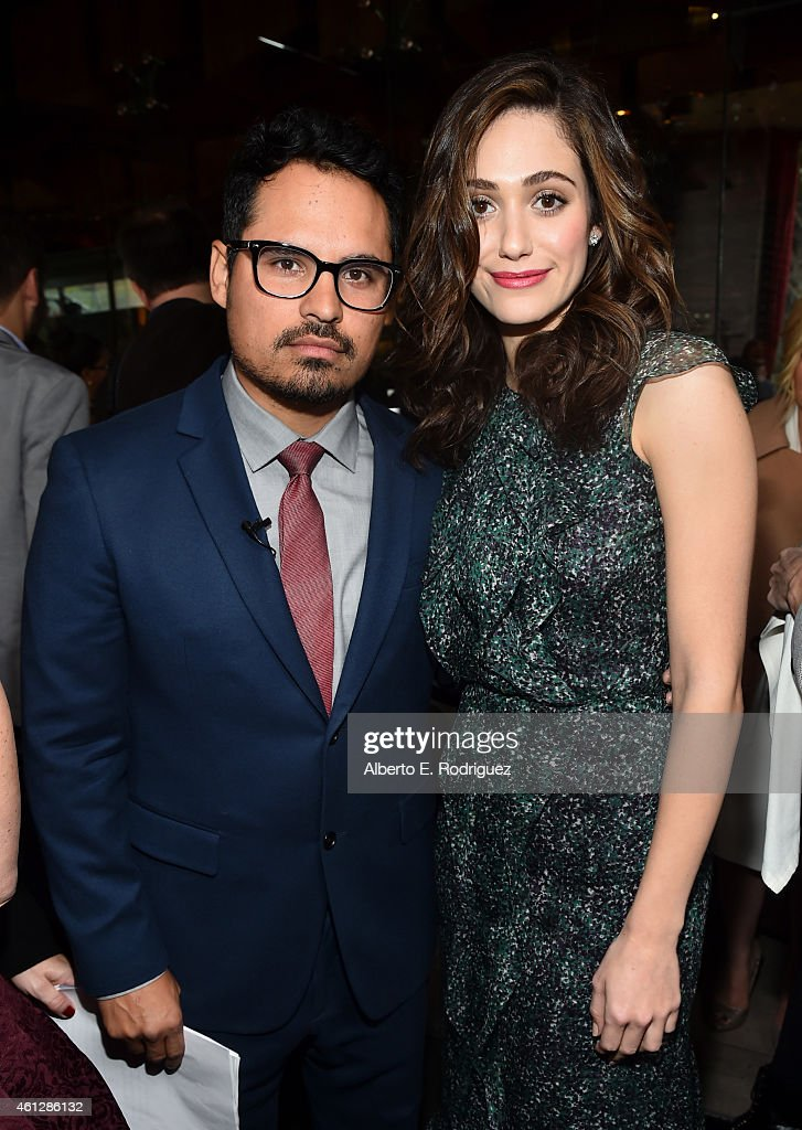 Brunch cohosts Michael Pena and Emmy Rossum attend the 2015 Film Independent Filmmaker Grant and Spirit Awards nominee brunch at BOA Steakhouse on...