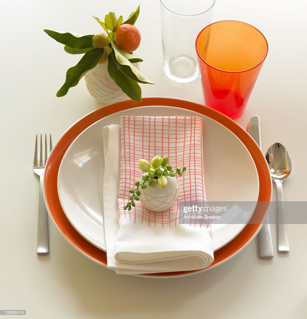 Brunch place setting with bud vases : Stock Photo