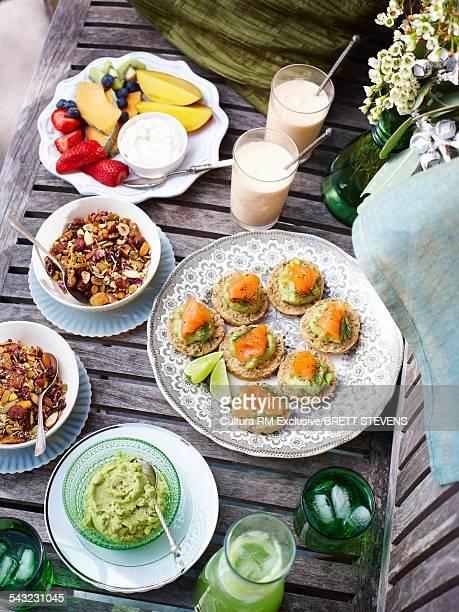 Brunch selection of avocado dip, muesli and fresh fruits