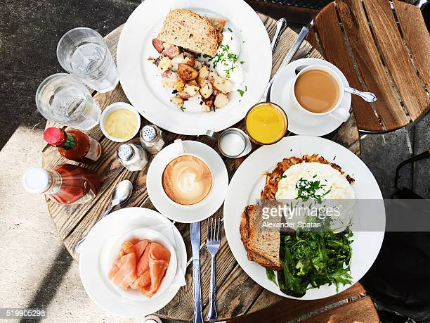 Brunch served on the table, high angle view