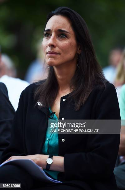 Brune Poirson 'La Republique En Marche' party candidate in the third district of the Vaucluse for France's legislative elections attends a campaign...