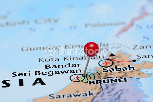 Map Of Asia Brunei.Brunei Pinned On A Map Of Asia Stock Photo Thinkstock