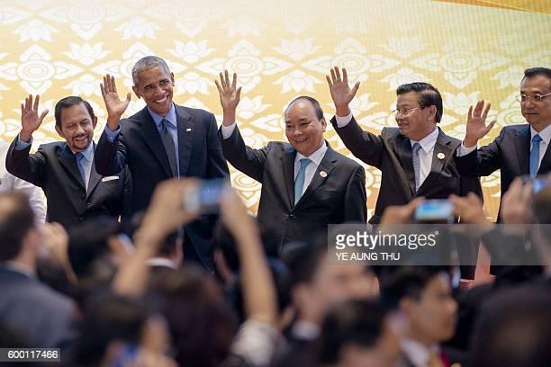 Brunei's Sultan Hassanal Bolkiah US President Barack Obama Vietnam's Prime Minister Nguyen Xuan Phuc Laos Prime Minister Thongloun Sisoulith and...