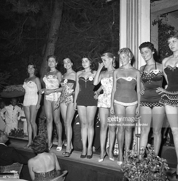 Brunella Tocci posing on the catwalk during the competition of Miss Italia Rimini 6th September 1955