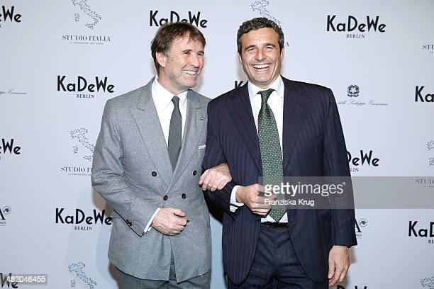 Brunello Cucinelli and Riccardo M Monti attend the 'Studio Italia La Perfezione del Gusto' Grand Opening at KaDeWe on April 02 2014 in Berlin Germany