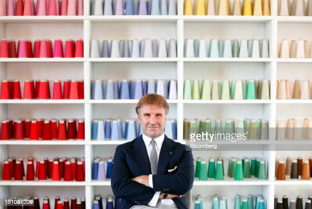 Brunello Cucinelli chairman and chief executive officer of Brunello Cucinelli SpA poses for a photograph inside the company's offices in Solomeo near...