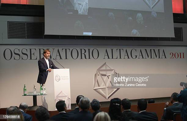 Brunello Cucinelli Chairman Brunello Cucinelli speaks during the Altagamma Observatory 2011 at Palazzo Mezzanotte on October 17 2011 in Milan Italy...