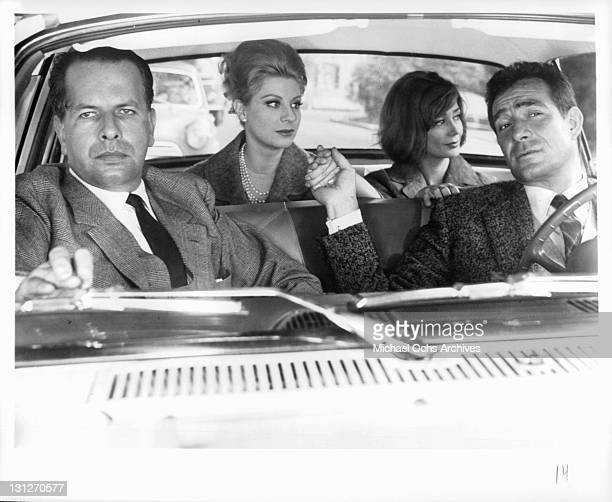 Brunello Rondi Mara Berni Emmanuele Riva and Ugo Tognazzi in a scene from the film 'The Hours Of Love' 1963