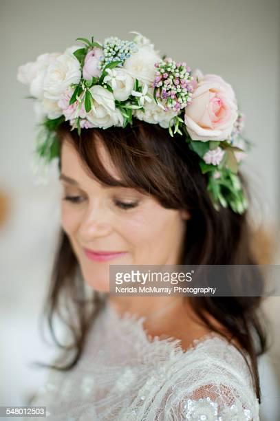Brunette bride headshot with flower crown
