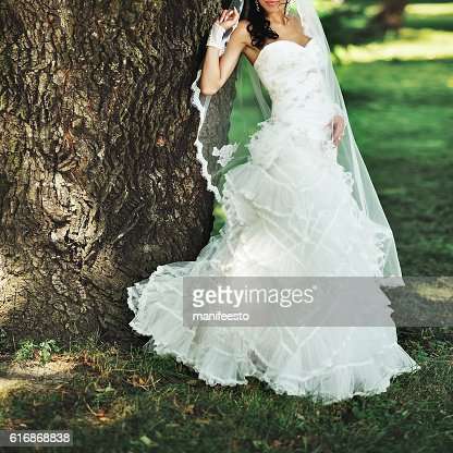 brunette bride wearing white dress : Stock Photo