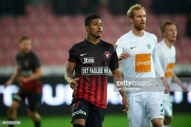 Bruninho of FC Midtjylland and Jonas Thorsen of Viborg FF compete for the ball during the Danish Alka Superliga match between FC Midtjylland and...