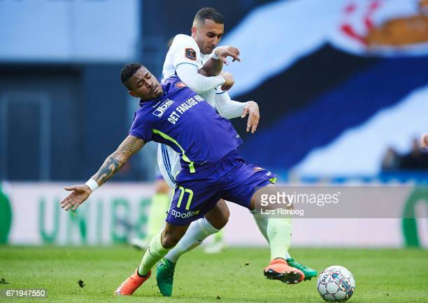 Bruninho of FC Midtjylland and Youssef Toutouh of FC Copenhagen compete for the ball during the Danish Alka Superliga match between FC Copenhagen and...