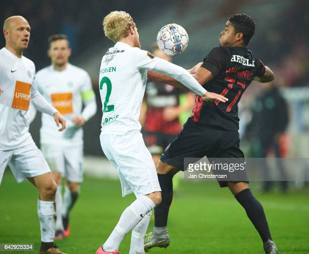 Bruninho of FC Midtjylland compete for the ball during the Danish Alka Superliga match between FC Midtjylland and Viborg FF at MCH Arena on February...