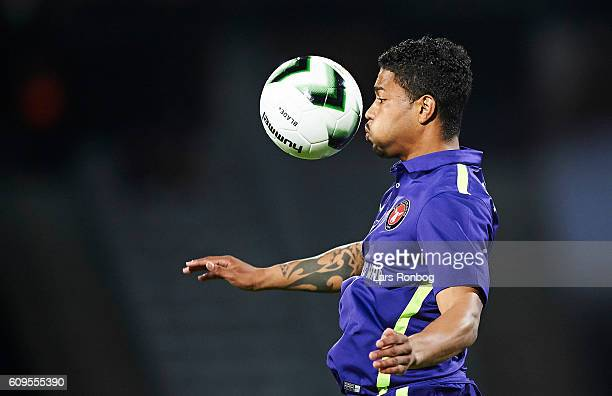 Bruninho of FC Midtjylland controls the ball during the Danish Alka Superliga match between AGF Aarhus and FC Midtjylland at Ceres Park on September...