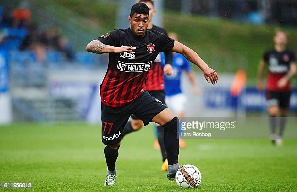 Bruninho of FC Midtjylland controls the ball during the Danish Alka Superliga match between Lyngby BK and FC Midtjylland at Lyngby Stadion on October...