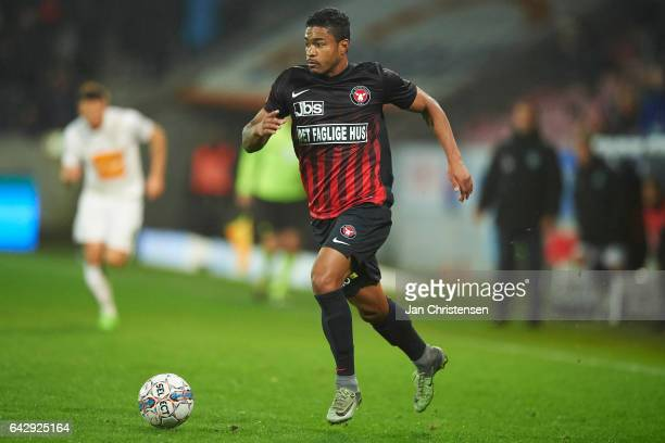 Bruninho of FC Midtjylland controls the ball during the Danish Alka Superliga match between FC Midtjylland and Viborg FF at MCH Arena on February 19...