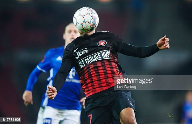 Bruninho of FC Midtjylland controls the ball during the Danish Alka Superliga match between FC Midtjylland and Lyngby BK at MCH Arena on March 3 2017...