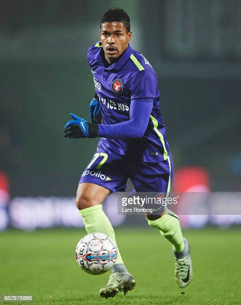 Bruninho of FC Midtjylland controls the ball during the Danish Alka Superliga match between AaB Aalborg and FC Midtjylland at Aalborg Portland Park...