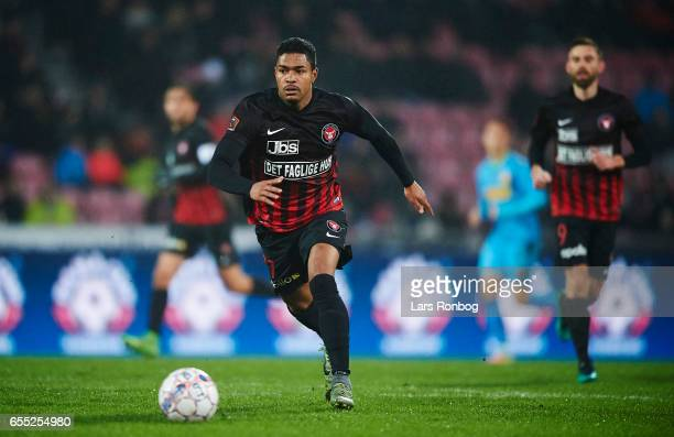 Bruninho of FC Midtjylland controls the ball during the Danish Alka Superliga match between FC Midtjylland and FC Nordsjalland at MCH Arena on March...