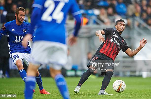 Bruninho of FC Midtjylland in action during the Danish Alka Superliga match between Lyngby BK and FC Midtjylland at Lyngby Stadion on October 2 2016...