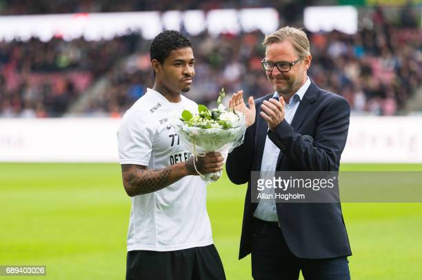Bruninho of FC Midtjylland receiving flowers prior to the Danish Alka Superliga match between FC Midtjylland and Lyngby BK at MCH Arena on May 28...