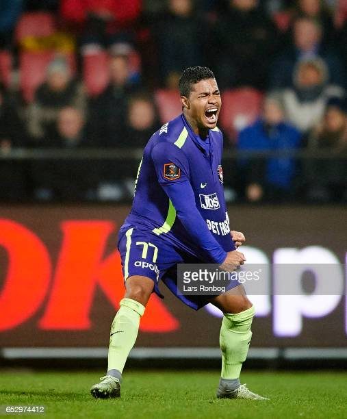 Bruninho of FC Midtjylland shows frustration during the Danish Alka Superliga match between AaB Aalborg and FC Midtjylland at Aalborg Portland Park...