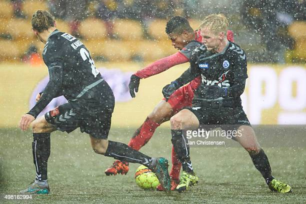 Bruninho of FC Nordsjalland and Andreas Oggesen of SonderjyskE compete for the ball during the Danish Alka Superliga match between FC Nordsjalland...
