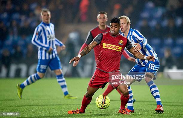Bruninho of FC Nordsjalland and Leon Jessen of Esbjerg fB compete for the ball during the Danish Alka Superliga match between Esbjerg fB and FC...