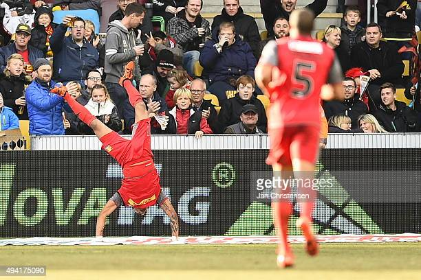 Bruninho of FC Nordsjalland celebrate after his 20 goal during the Danish Alka Superliga match between FC Nordsjalland and AaB Aalborg at Farum Park...