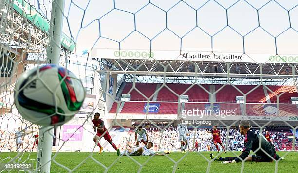 Bruninho of FC Nordsjalland scores the 11 goal against Goalkeeper Stephan Andersen of FC Copenhagen during the Danish Alka Superliga match between FC...