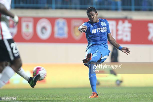 Bruninho of Guangzhou RF shoots the ball during the Chinese Football Association Super League match between Guangzhou RF and Hebei China Fortune at...