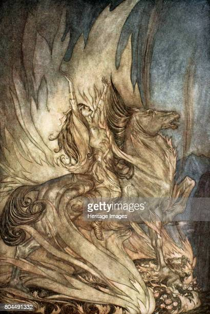 Brunnhilde on Grane leaps on to the funeral pyre of Siegfried' 1924 Illustration from Siegfried and the Twilight of the Gods Brunnhilde gets on her...
