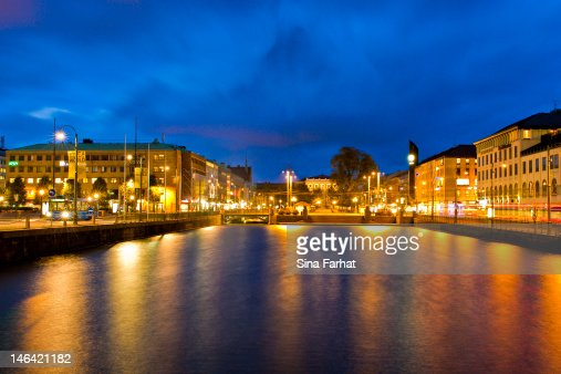Brunnsparken at night : Stock Photo