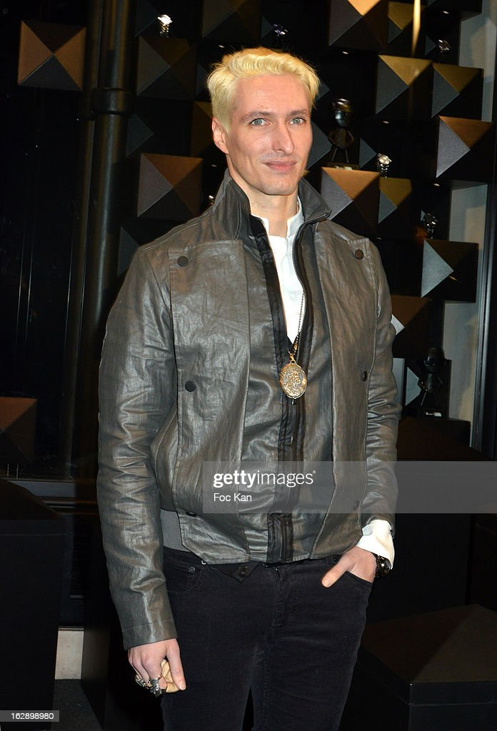 Bruno Alexandre of band Neimo attend the opening of the Karl Lagerfeld concept store during Paris Fashion Week Fall/Winter 2013 at Karl Lagerfeld Concept Store Saint Germain on February 28; 2013 in Paris; France.