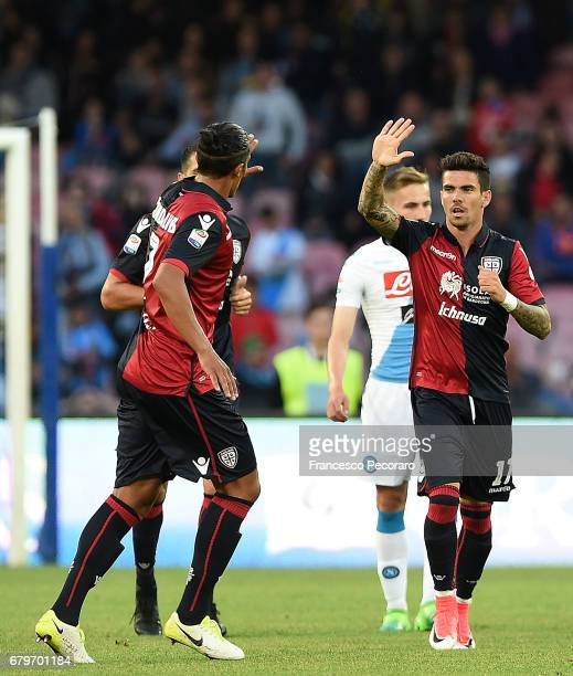 Bruno Alves and Diego Farias of Cagliari Calcio celebrate the 31 goal scored by Diego Farias during the Serie A match between SSC Napoli and Cagliari...