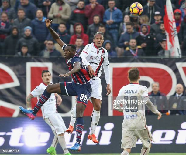 Bruno Alves of Cagliari competes for the ball in air with Nwankwo Simy of Crotone during the Serie A match between FC Crotone and Cagliari Calcio at...