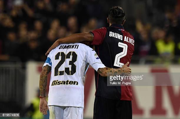 Bruno Alves of Cagliari conforts Alessandro Diamanti of Palermo after the Serie A match between Cagliari Calcio v US Citta di Palermo at Stadio...