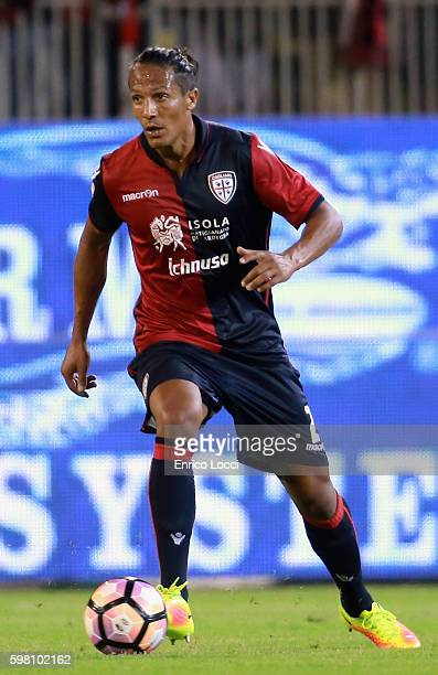 Bruno Alves of Cagliari in action during the Serie A match between Cagliari Calcio and AS Roma at Stadio Sant'Elia on August 28 2016 in Cagliari Italy