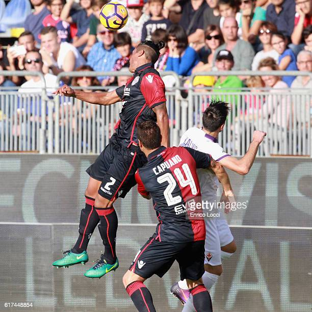 Bruno Alves of Cagliari in action during the Serie A match between Cagliari Calcio and ACF Fiorentina at Stadio Sant'Elia on October 23 2016 in...