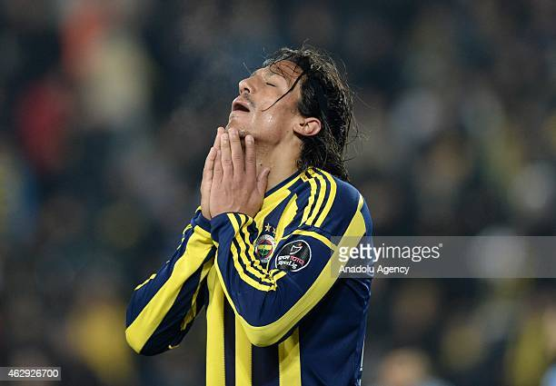 Bruno Alves of Fenerbahce reacts after a position during the Turkish Spor Toto Spor League soccer match between Fenerbahce and Trabzonspor at Sukru...