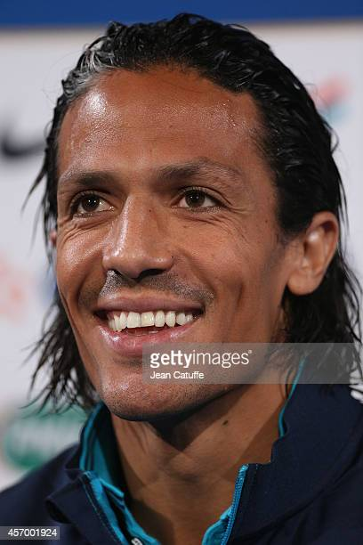 Bruno Alves of Portugal answers to the media during a press conference on the eve of the international friendly match between France and Portugal at...
