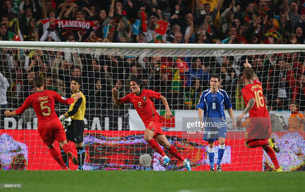 <a gi-track='captionPersonalityLinkClicked' href=/galleries/search?phrase=Bruno+Alves&family=editorial&specificpeople=2149132 ng-click='$event.stopPropagation()'>Bruno Alves</a> (C) of Portugal celebrates his goal with team mates during the FIFA 2010 European World Cup qualifier first leg match between Portugal and Bosnia-Herzegovina at the Luz stadium on November 14, 2009 in Lisbon, Portugal.