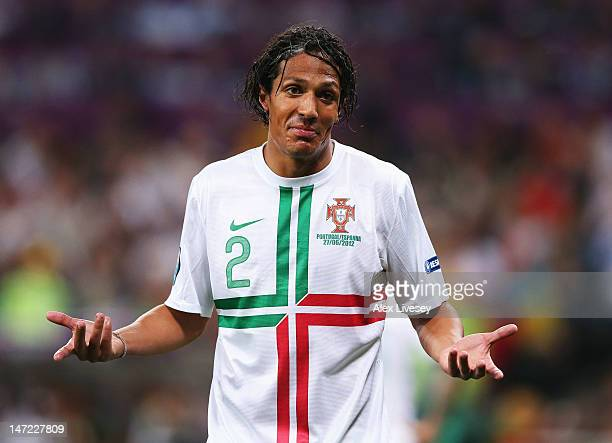 Bruno Alves of Portugal gestures during the UEFA EURO 2012 semi final match between Portugal and Spain at Donbass Arena on June 27 2012 in Donetsk...