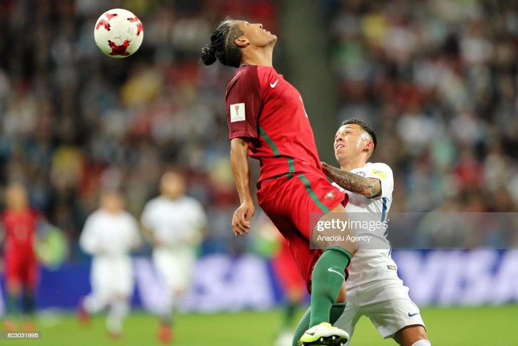 Bruno Alves (L) of Portugal in action against Pablo Hernandez (R) of Chile during the FIFA Confederations Cup 2017 Semi-final soccer match between Portugal and Chile at 'Kazan-Arena' stadium in Kazan, Russia on June 28, 2017.