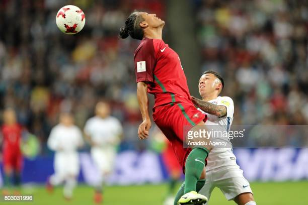 Bruno Alves of Portugal in action against Pablo Hernandez of Chile during the FIFA Confederations Cup 2017 Semifinal soccer match between Portugal...