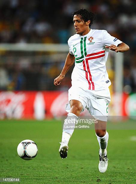 Bruno Alves of Portugal in action during the UEFA EURO 2012 semi final match between Portugal and Spain at Donbass Arena on June 27 2012 in Donetsk...
