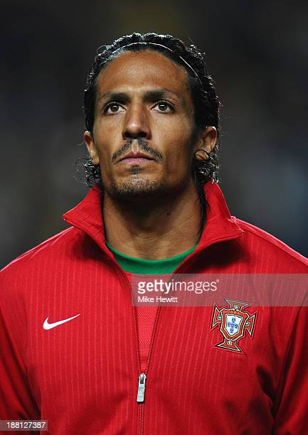 Bruno Alves of Portugal lines up for the National Anthems during the FIFA 2014 World Cup Qualifier Playoff First Leg between Portugal and Sweden at...