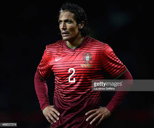 Bruno Alves of Portugal looks on during the International Friendly match between Argentina and Portugal at Old Trafford on November 18 2014 in...